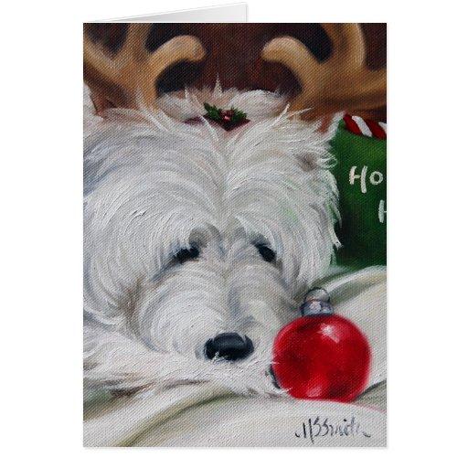 navidad del oeste santa del perro del terrier de l tarjeta de felicitación