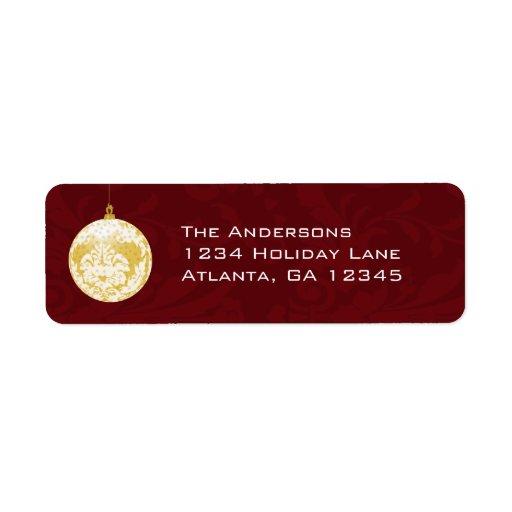 Navidad del ornamento del damasco del oro en etiqueta de remite