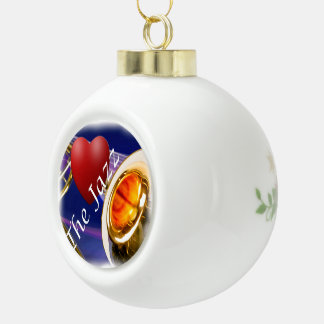 Navidad del ornamento del jazz del amor del músico adorno de cerámica en forma de bola