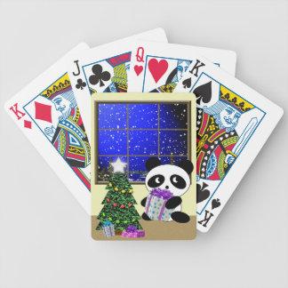 Navidad del oso de panda baraja de cartas