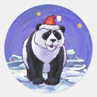 Navidad del oso de panda pegatina redonda