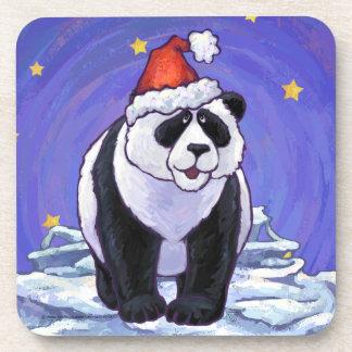 Navidad del oso de panda posavasos de bebidas