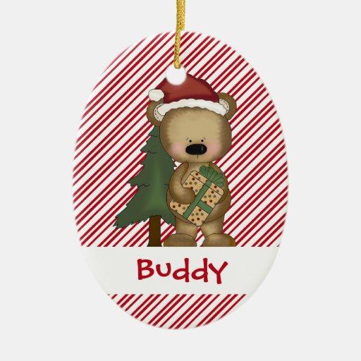 Navidad del oso de peluche de Santa de los regalos Ornamentos De Reyes