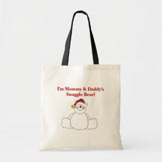 Navidad del oso del Snuggle de la mamá y del papá Bolsa Tela Barata