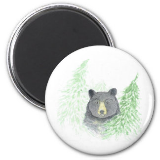 Navidad del oso negro imán redondo 5 cm