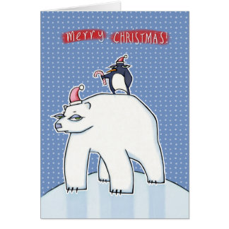 Navidad del oso polar azul tarjeta de felicitación
