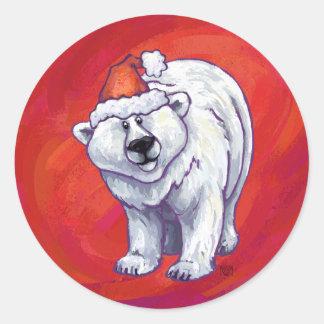 Navidad del oso polar en rojo pegatina redonda