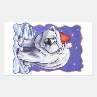 Navidad del oso polar pegatina rectangular