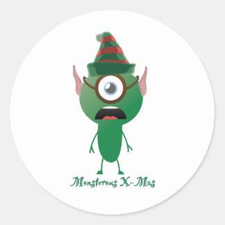 Navidad del ouphe pegatina redonda