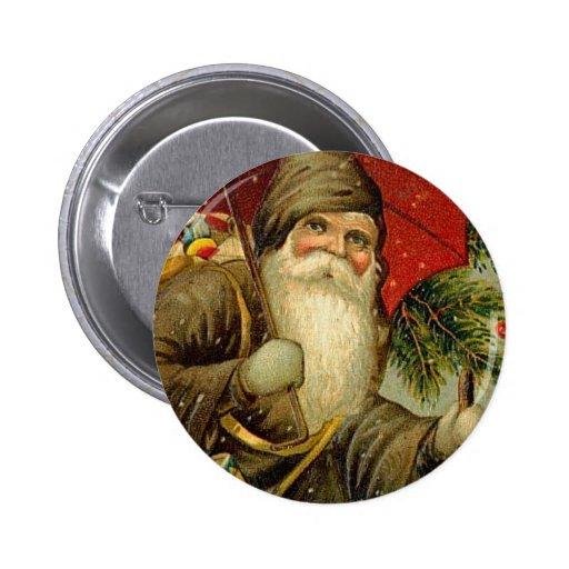 Navidad del padre - arte del vintage pin redondo 5 cm