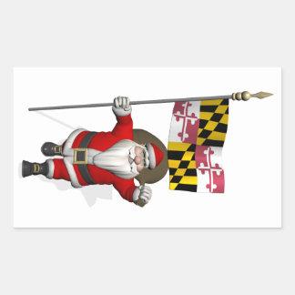 Navidad del padre con la bandera de Maryland Pegatina Rectangular