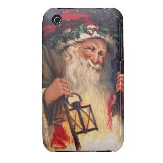 Navidad del padre con la linterna iPhone 3 Case-Mate funda