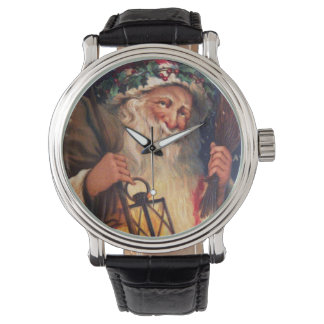Navidad del padre con la linterna reloj