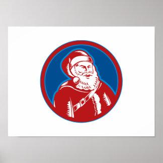 Navidad del padre de Papá Noel retro Poster