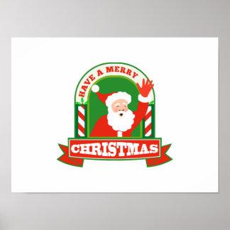 Navidad del padre de Papá Noel retro Posters