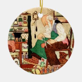 Navidad del padre del vintage en su taller adorno redondo de cerámica