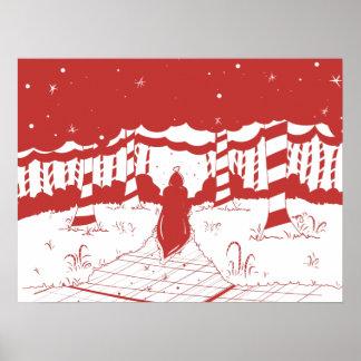 Navidad del padre en rojo y blanco póster
