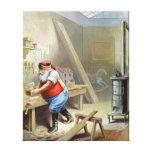 Navidad del padre en su taller impresión de lienzo