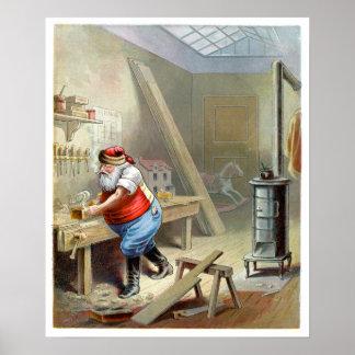 Navidad del padre en su taller póster