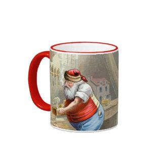 Navidad del padre en su taller taza a dos colores