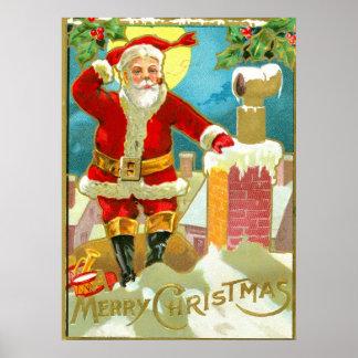 Navidad del padre en una chimenea póster