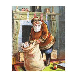 Navidad del padre impresión en lienzo estirada