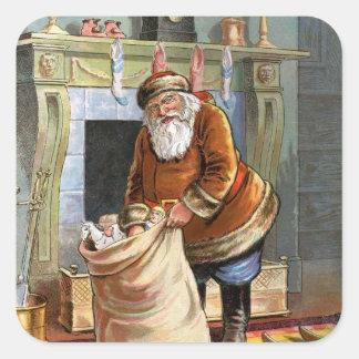 Navidad del padre pegatina cuadrada