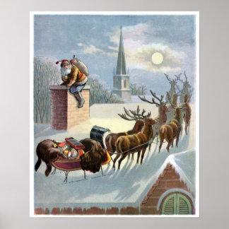 Navidad del padre que va abajo de la chimenea póster