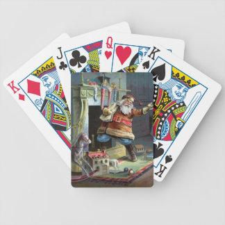 Navidad del padre que va para arriba la chimenea baraja de cartas