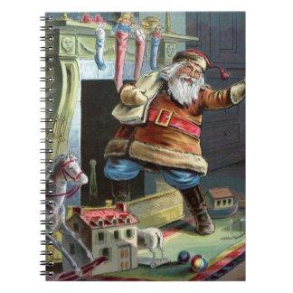 Navidad del padre que va para arriba la chimenea cuaderno