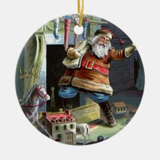 Navidad del padre que va para arriba la chimenea adorno redondo de cerámica