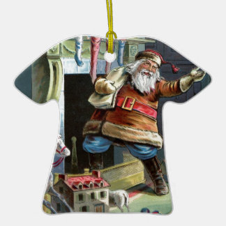 Navidad del padre que va para arriba la chimenea adorno de cerámica en forma de playera