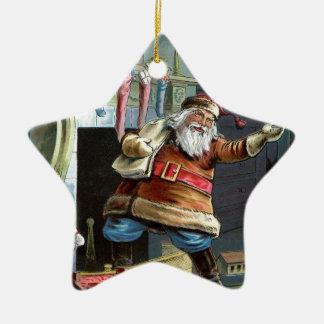 Navidad del padre que va para arriba la chimenea adorno de cerámica en forma de estrella
