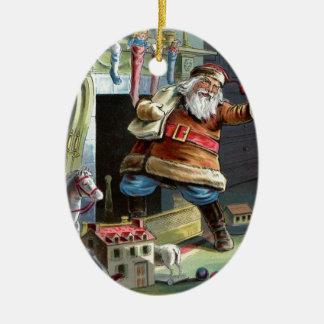Navidad del padre que va para arriba la chimenea adorno ovalado de cerámica