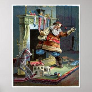 Navidad del padre que va para arriba la chimenea póster