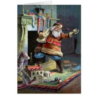 Navidad del padre que va para arriba la chimenea tarjeta de felicitación