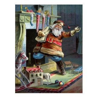 Navidad del padre que va para arriba la chimenea postales
