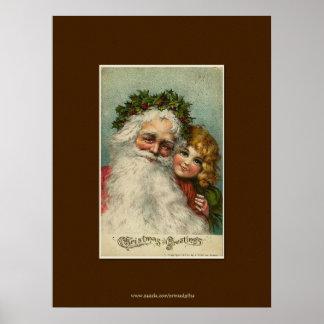 Navidad del padre y arte del vintage del niño póster