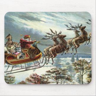 Navidad del padre y su reno alfombrillas de raton