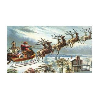 Navidad del padre y su reno impresión en lona estirada