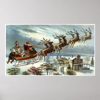 Navidad del padre y su reno póster