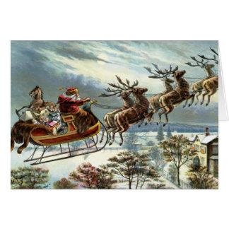 Navidad del padre y su reno tarjeta de felicitación