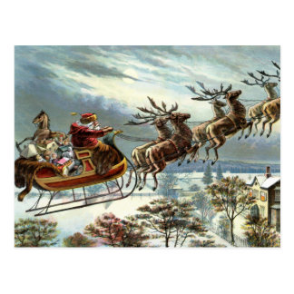 Navidad del padre y su reno tarjeta postal