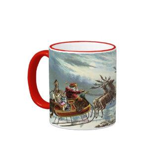 Navidad del padre y su reno taza a dos colores
