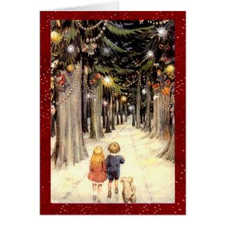 Navidad del país de las maravillas del invierno tarjeta de felicitación