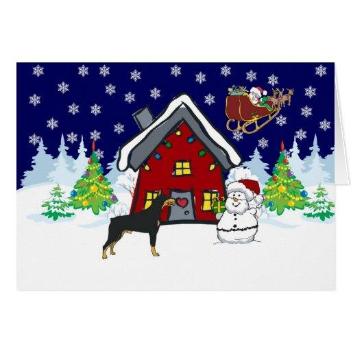 Navidad del país del Doberman Tarjeton