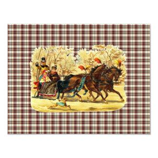 Navidad del paseo del trineo del Victorian Invitación 10,8 X 13,9 Cm