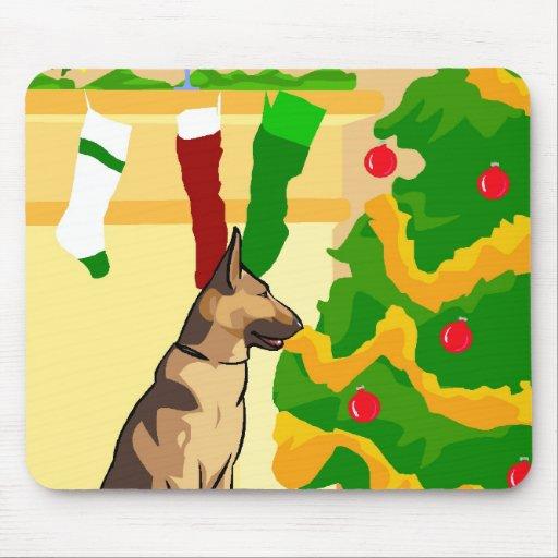 Navidad del pastor alemán alfombrilla de ratones