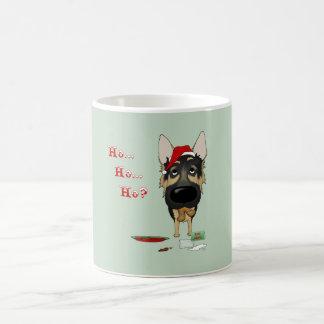 Navidad del pastor alemán tazas de café