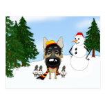 Navidad del pastor alemán postal